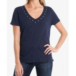 Vince Camuto V-Neck Studded T-Shirt Top Size 2X